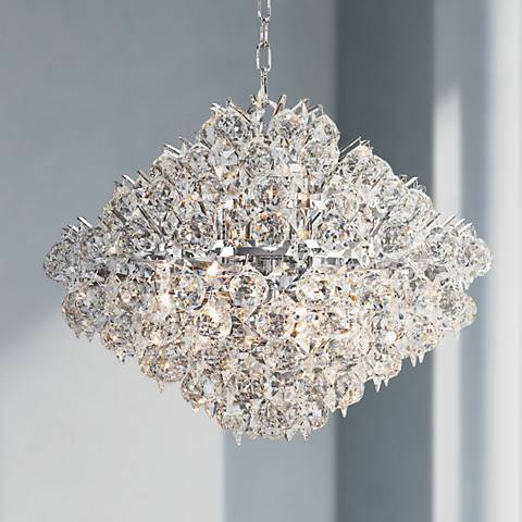 "Essa 20"" Wide Chrome - Crystal Pendant"