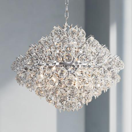 "Vienna Full Spectrum Essa 20"" Wide Chrome - Crystal Pendant"