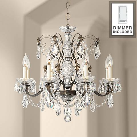 "Century Bronze 24"" W Crystal Chandelier and Dimmer"