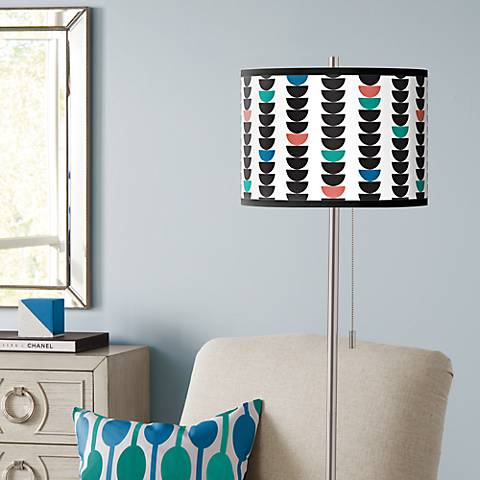 Semi-Dots Brushed Nickel Pull Chain Floor Lamp