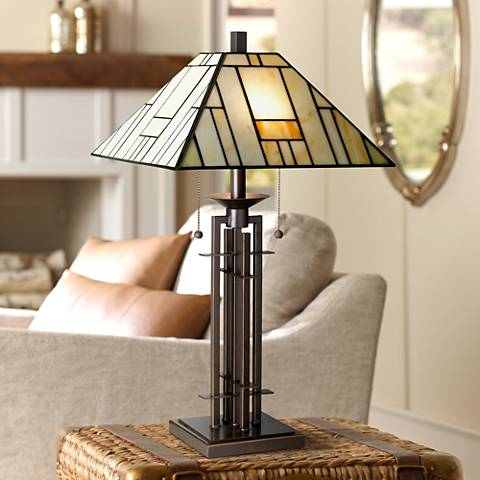 Franklin Iron Works Wrought Iron Tiffany-Style Table Lamp
