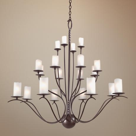 "Avalon Hand-Forged Iron 45"" Wide 20-Light Chandelier"