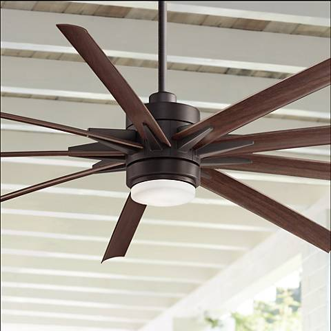 "84"" Odyn Dark Bronze - Dark Walnut LED Outdoor Ceiling Fan"