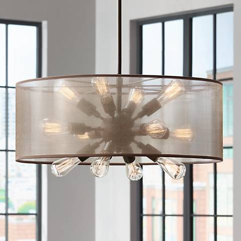 "Possini Euro Nicol 27""W 12-Light Oil Bronze Pendant Light"