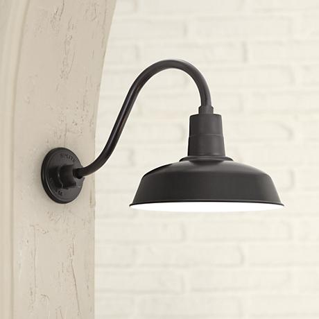 "Warehouse 9 1/2""H Barn Black Gooseneck Outdoor Wall Light"