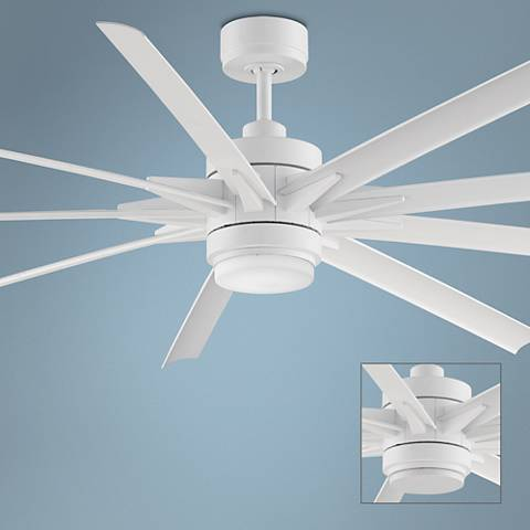 "84"" Odyn Matte White LED Outdoor Ceiling Fan"