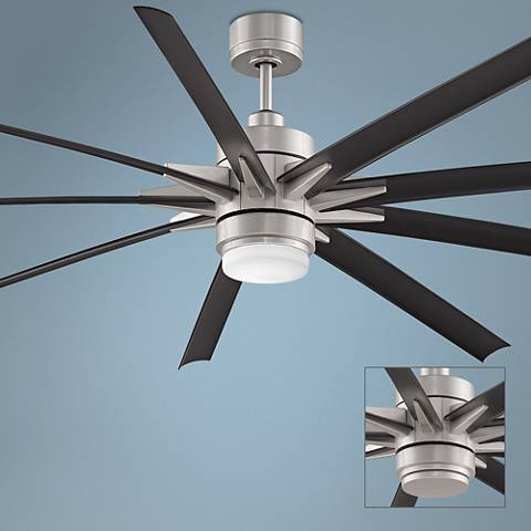 "84"" Odyn Brushed Nickel - Black LED Outdoor Ceiling Fan"