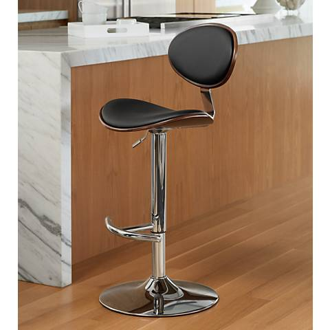 Torrioni Black Faux Leather Adjustable Barstool