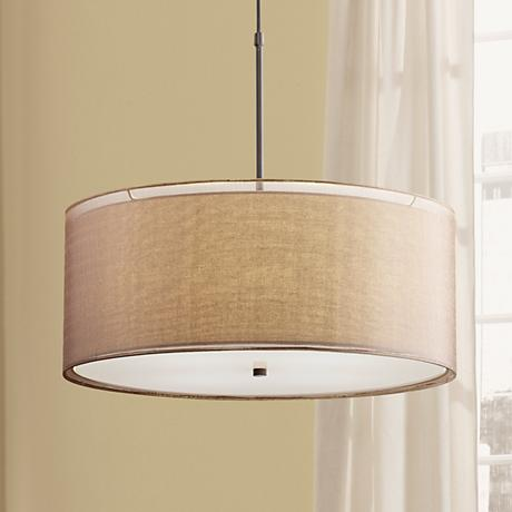 "Possini Euro Agnesot 24"" Wide 2-Shade Bronze Pendant"