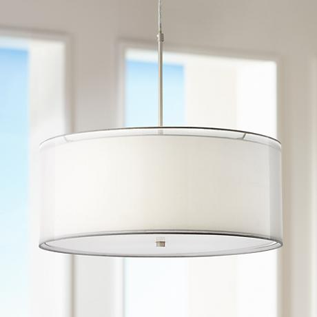 "Possini Euro Agnesot 24""W 2-Shade Brushed Nickel Pendant"