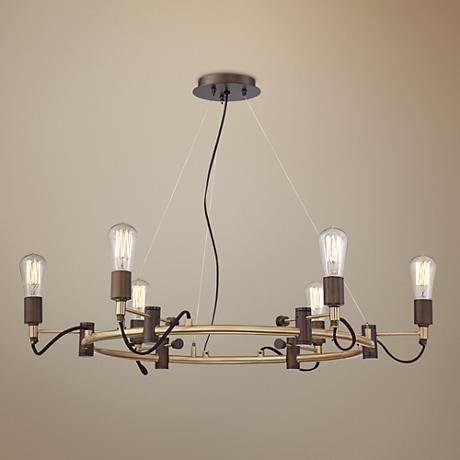 "Henning 28 1/4"" Wide Oil Rubbed Bronze 6-Light Chandelier"