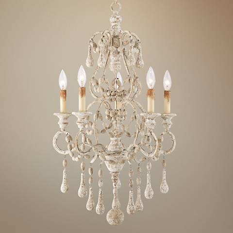 "Charise Antique Scratched White 18"" Wide 5-Light Chandelier"