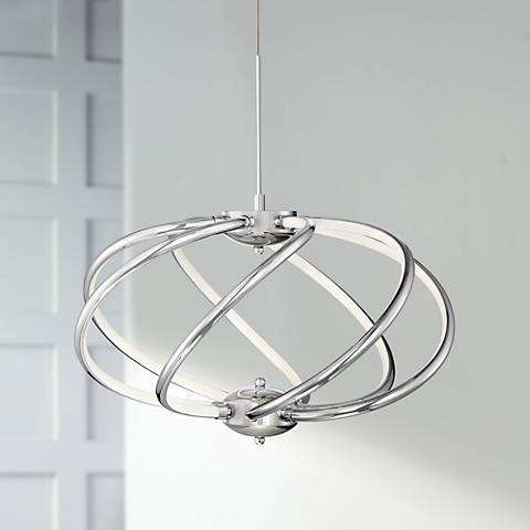 "Possini Euro Galaxy 19"" Wide Chrome LED Pendant Light"