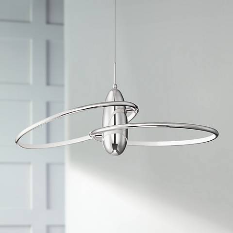 "Possini Euro Galaxy 29"" Wide Chrome LED Pendant Light"