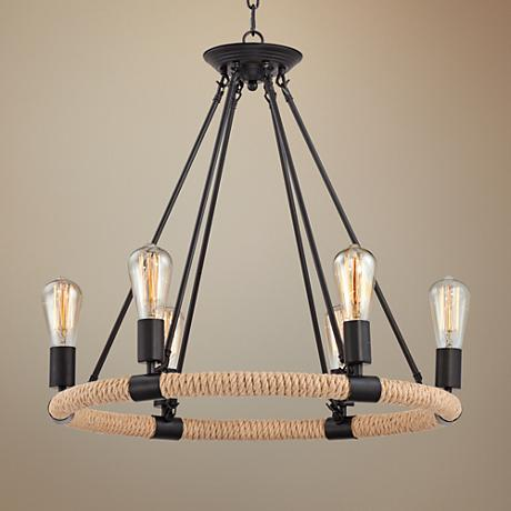 "Scottsboro 25"" Wide Bronze 6-Light Chandelier"