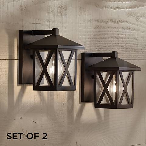 "Elkins 7 1/2"" High Black Outdoor Lantern Set of 2"