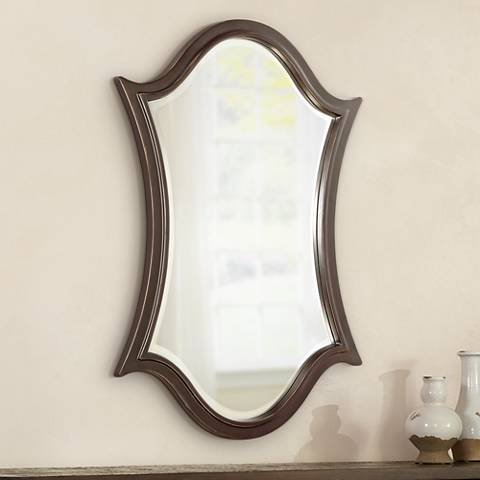 "Quoizel Vanderbilt Bronze 24"" x 36"" Shield Wall Mirror"