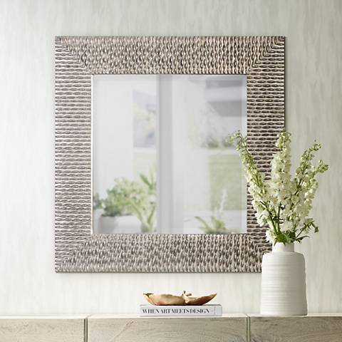 "Uttermost Cressida Silver Beaded 40"" Square Wall Mirror"