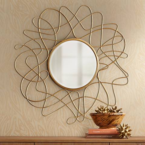 "Uttermost Kiser Gold Leaf 40 1/2"" Round Metal Wall Mirror"