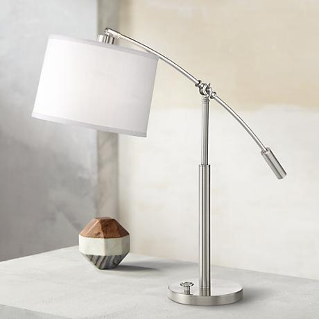 Quoizel Clift Brushed Nickel Adjustable Arc Desk Lamp