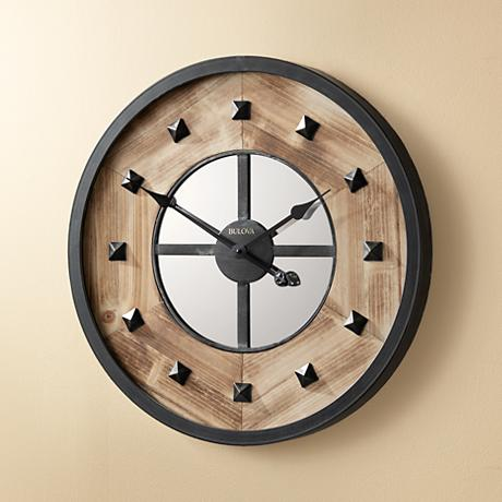 "Bulova Murray Hill Aged Iron 24"" Round Wall Clock"
