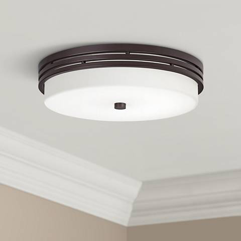 "Kichler Witherow 14"" Wide Olde Bronze LED Ceiling Light"