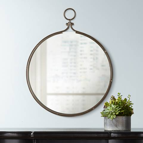 "Wolsey French Bronze 18""x22 1/2"" Round Wall Mirror"