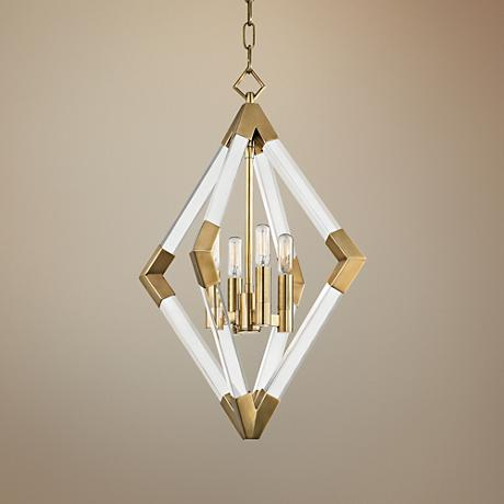 "Hudson Valley Lyons 17 1/4"" Wide Aged Brass Pendant Light"