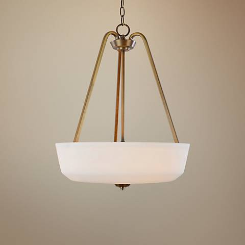 "Hudson 18""W Vintage Brass and Opal Glass Pendant Light"