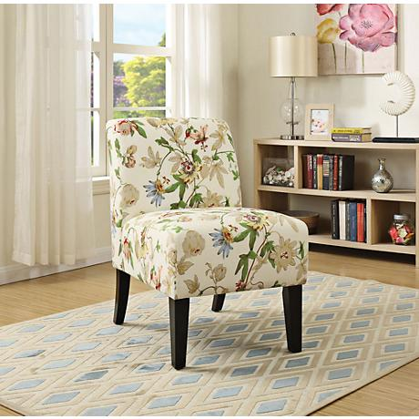 Yen Floral Fabric Armless Accent Chair