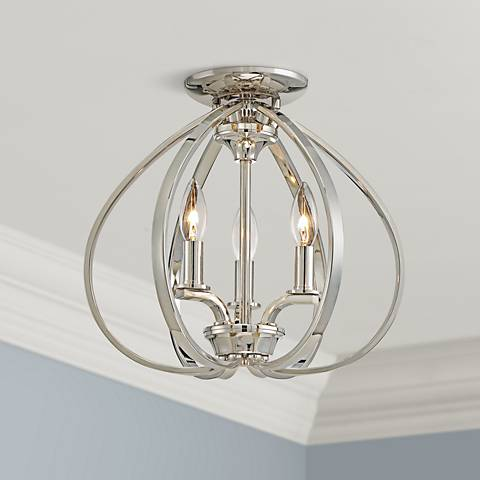 "Tilbury 14"" Wide Polished Nickel Ceiling Light"