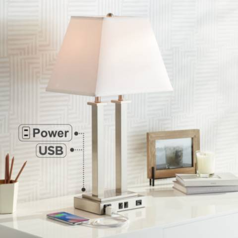 possini euro amity desk lamp with usb port and outlet. Black Bedroom Furniture Sets. Home Design Ideas