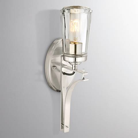 "Poleis 16"" High Brushed Nickel Wall Sconce"