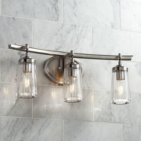 Poleis 3 light 24 wide brushed nickel bath light 9g439 for 3 light bathroom light