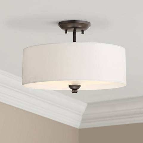 "Shadow Glen 16"" Wide Lathan Bronze Ceiling Light"