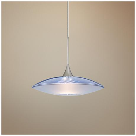 "Spazio 8 3/4""W Nickel Blue-Frost Glass LED Mini Pendant"