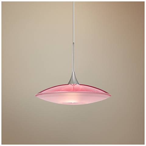 "Spazio 8 3/4""W Satin Nickel Red-Frost Glass LED Mini Pendant"