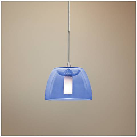 "Spur 5 1/2""W Satin Nickel Blue Glass LED Mini Pendant"