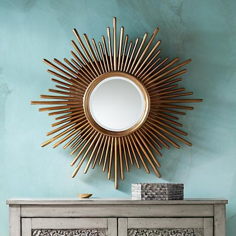 """Sarino Gold 36 1/4"""" Round Sunburst Accent Mirror"""