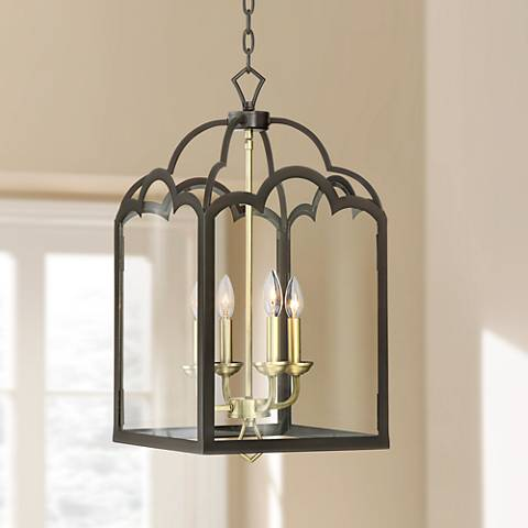 "Natalia 13 1/2""W Antique Brass and Bronze Entry Chandelier"