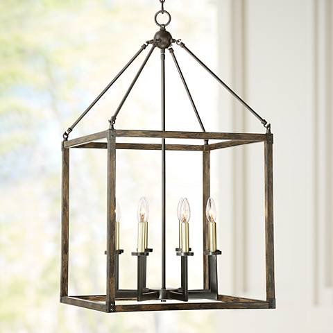 "Cayden 20 1/4""W Antique Brass and Bronze Foyer Chandelier"