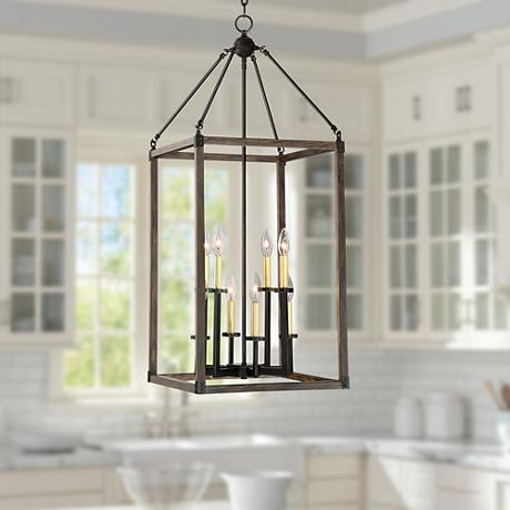 "Cayden 16"" Wide Antique Brass and Bronze Foyer Chandelier"