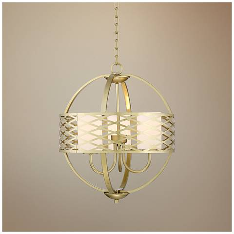 "Azalea 19"" Wide Warm Brass Orb Chandelier"