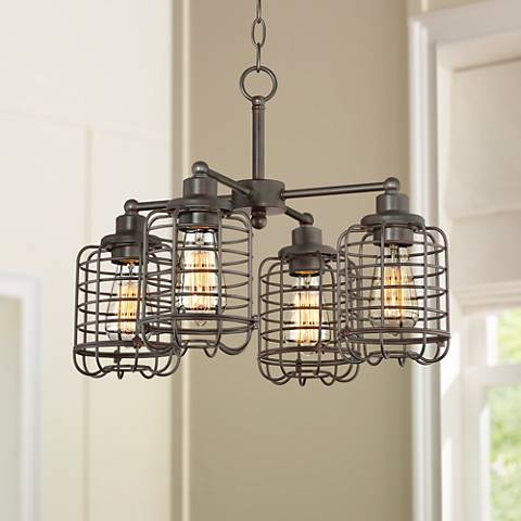 "Henway 20""W Oil Bronze 4-Light Industrial Cage Chandelier"