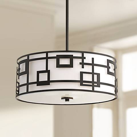 "Neo Geometric Black 20 1/4"" Wide Drum Pendant Light"