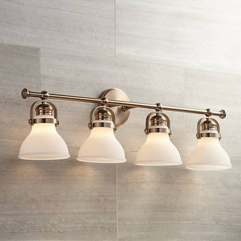 "Olsen 33"" Wide 4-Light French Gold Bath Light"