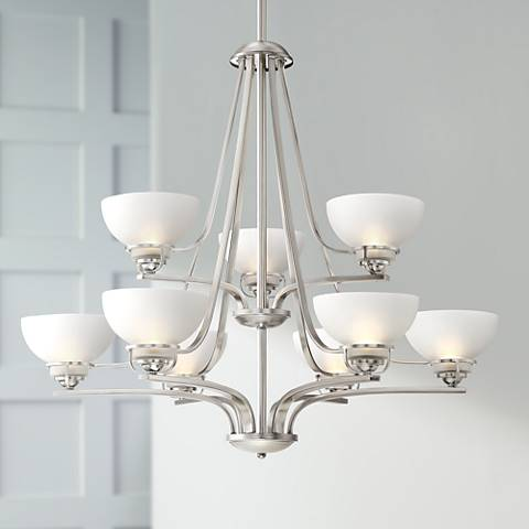 "Calpella 32"" Wide Brushed Nickel 9-Light Chandelier"