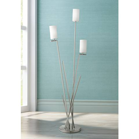 Possini Euro Albany Brushed Nicked 3-Light Floor Lamp