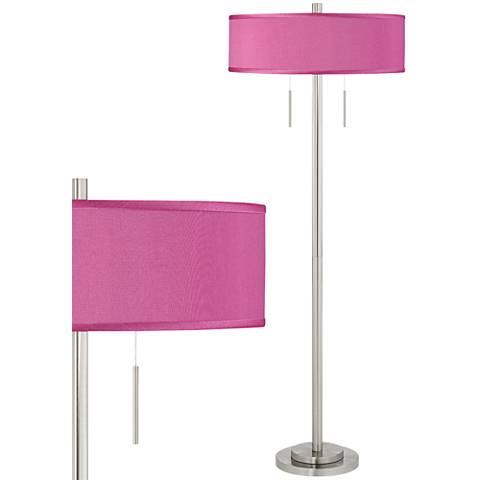Pink Orchid Faux Silk Taft Brushed Nickel Floor Lamp