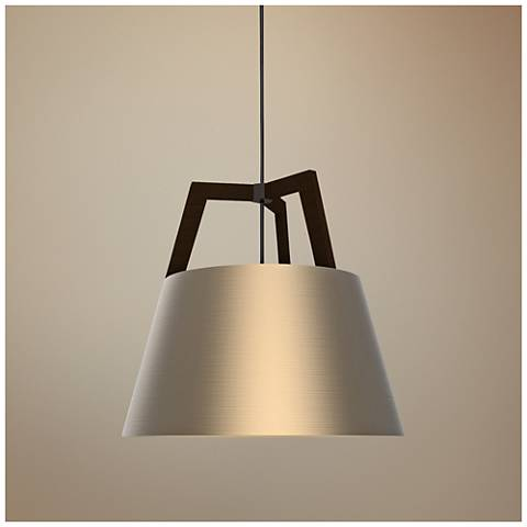 "Cerno Imber 17"" Wide Dark Stained Walnut LED Pendant Light"